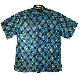 Robert Stock Mens Silk Shirt - XL - Blue Geometric